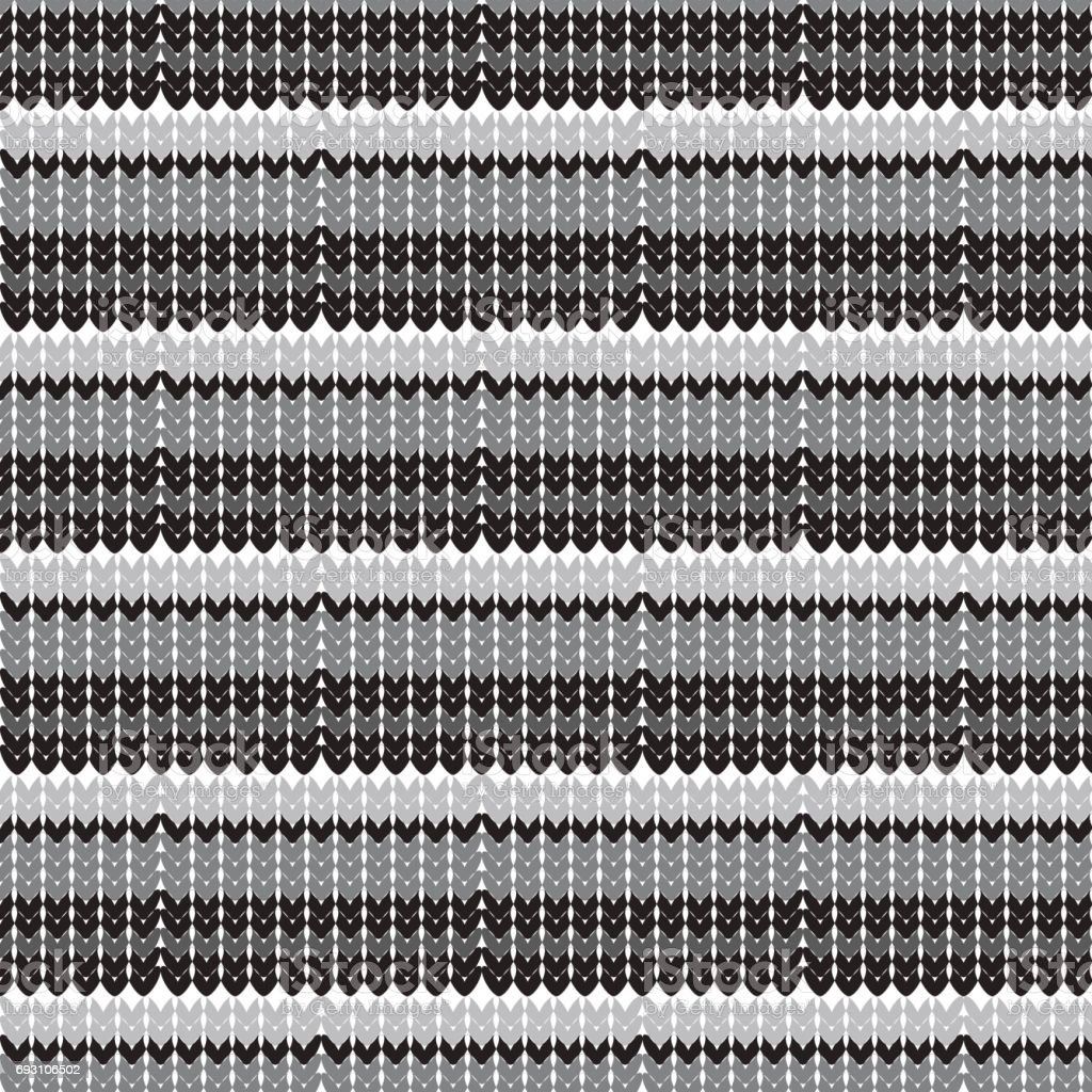 black and silver shade horizontal striped knitting overlapped pattern background vector art illustration