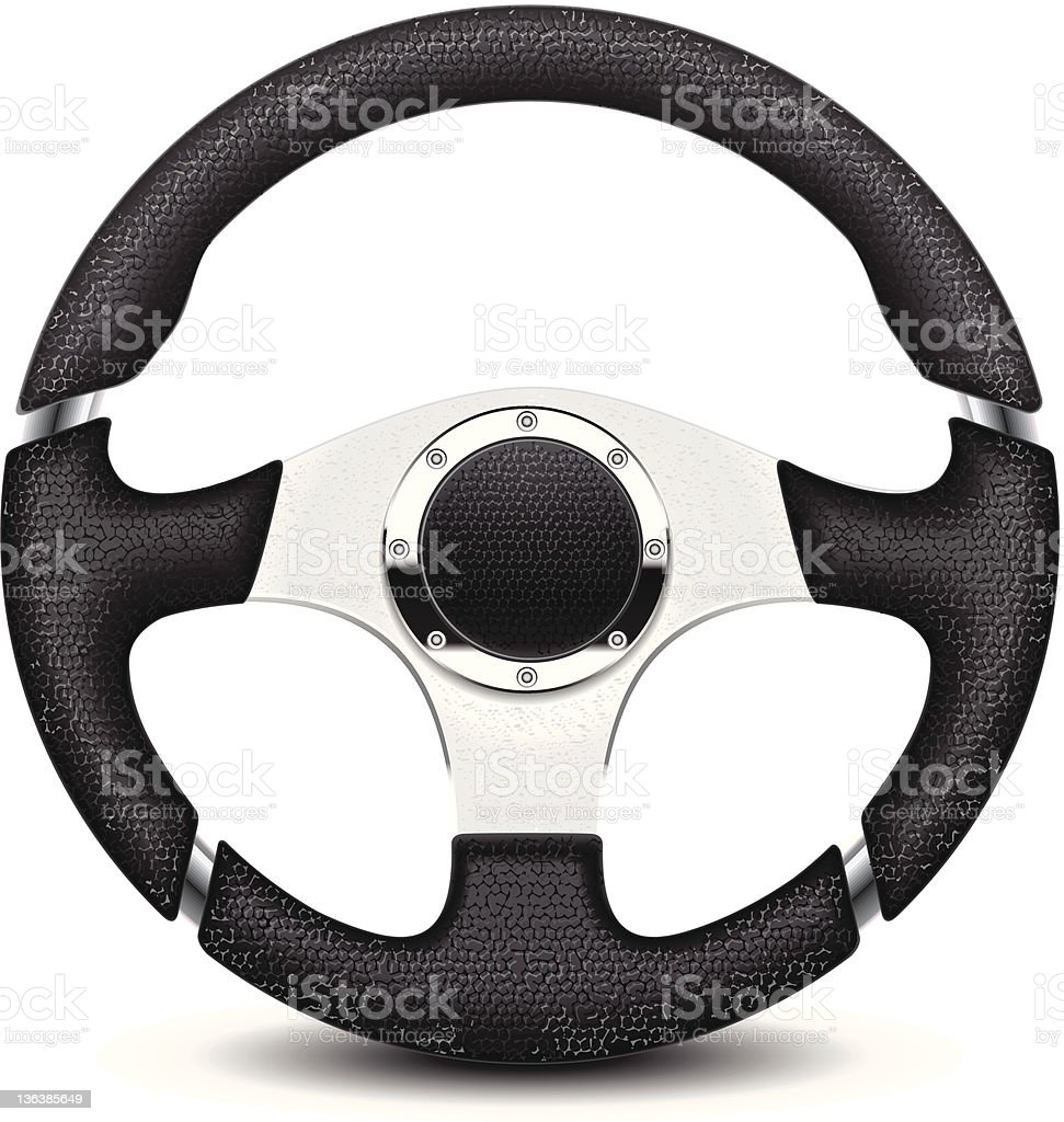 A black and silver steering wheel royalty-free stock vector art