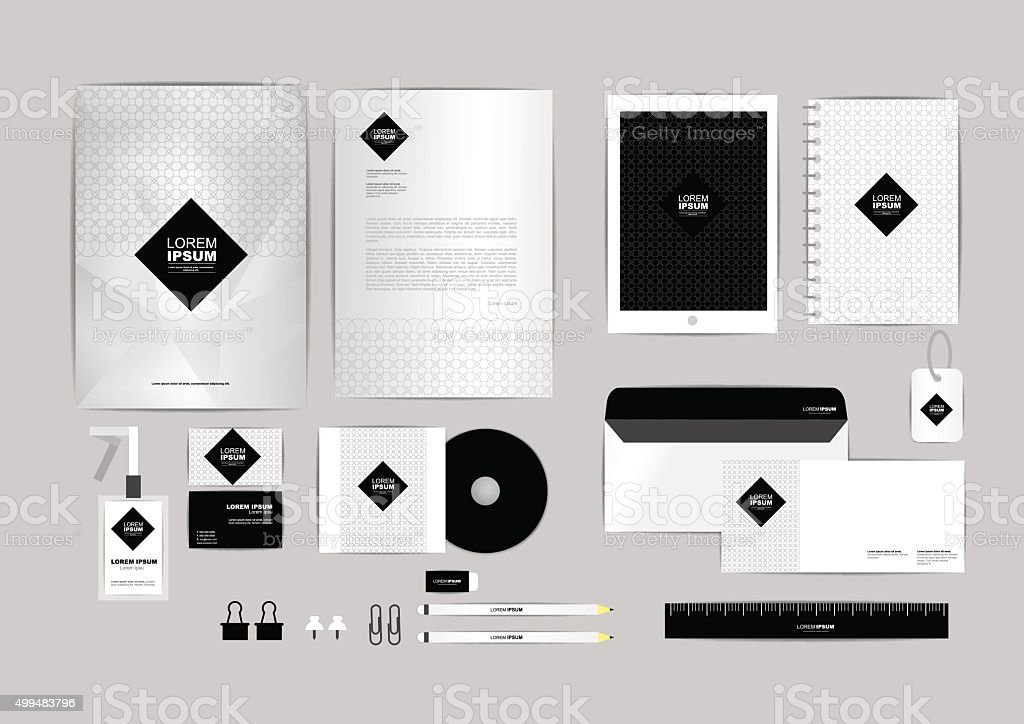 black and square corporate identity template for your business vector art illustration