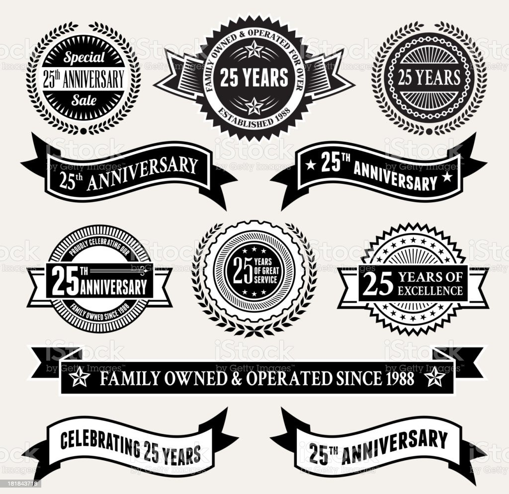 Black and White 25th Anniversary Badge Collection vector art illustration