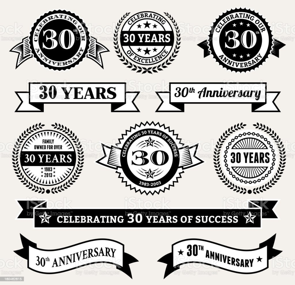 Black and White 30th Anniversary Badge Collection royalty-free stock vector art