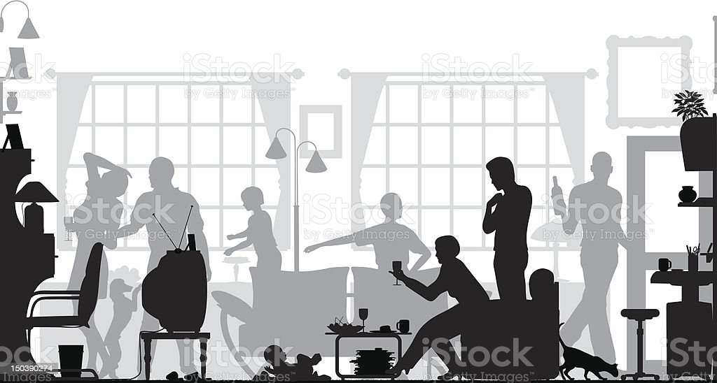 A black and white CGI of a home gathering royalty-free stock vector art