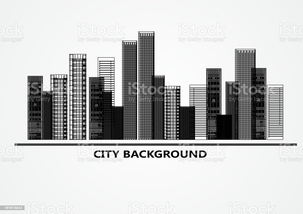 black and white abstract city background vector art illustration