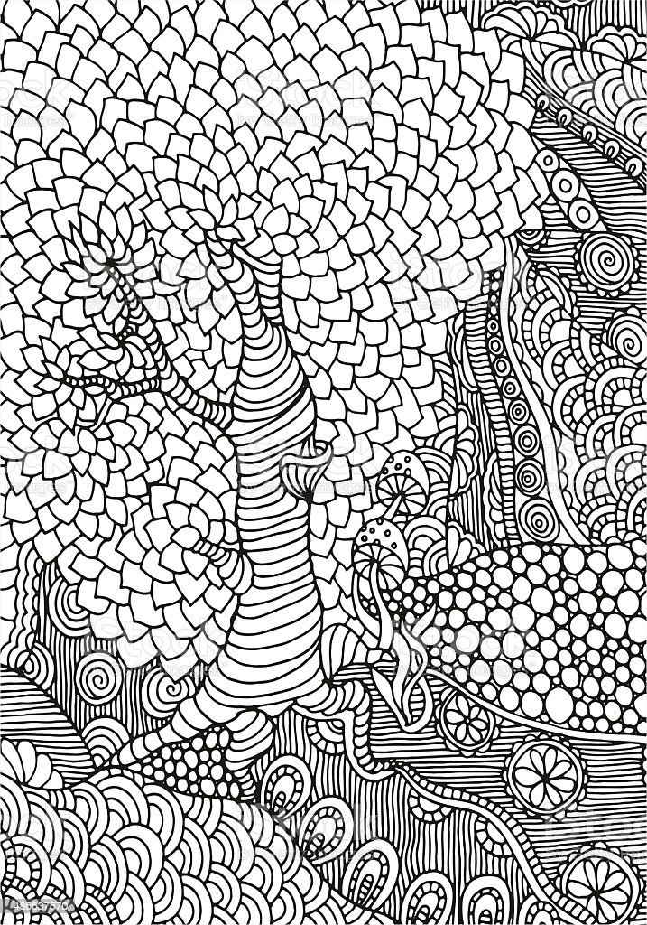Black and white abstract fantasy picture. A4 size vector art illustration