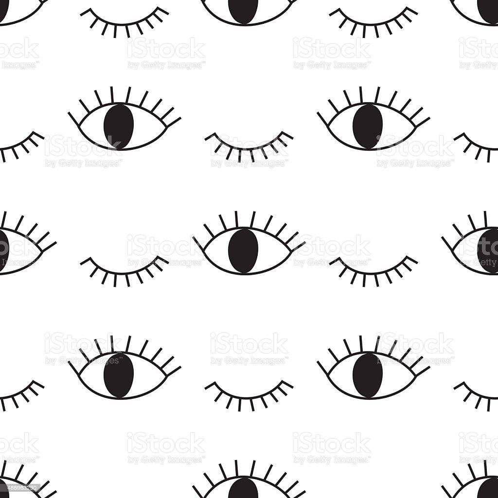 Black and white abstract pattern with open and winking eyes vector art illustration