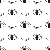 Black and white abstract pattern with open and winking eyes