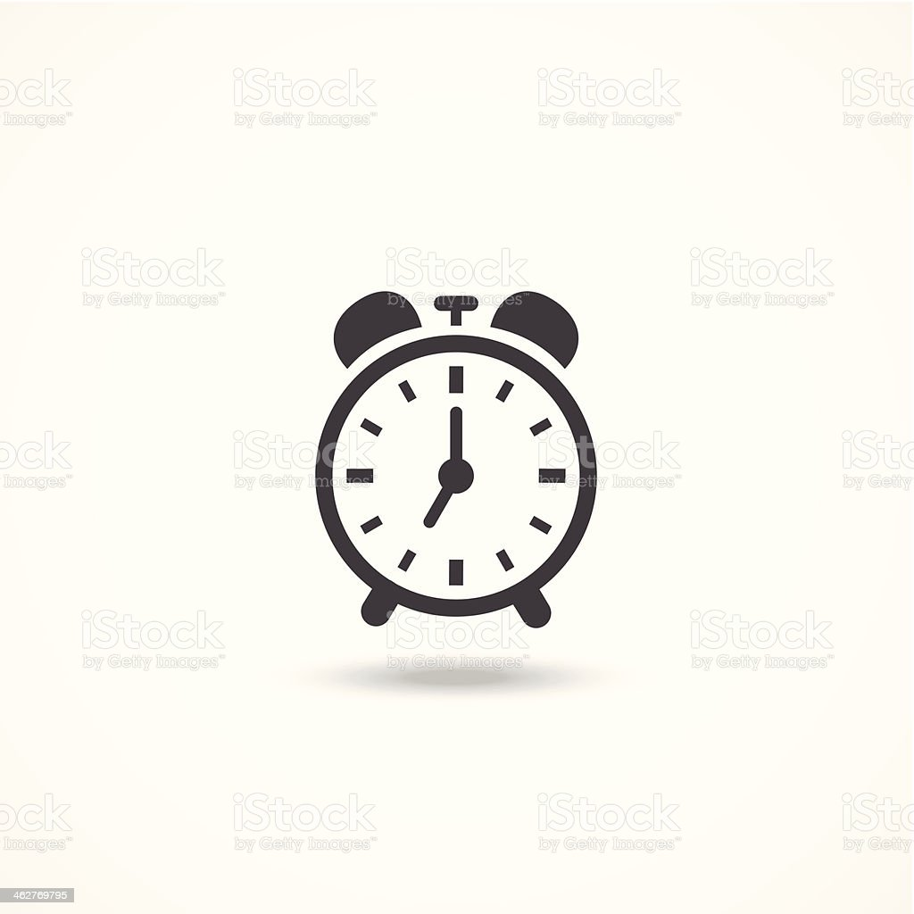 Black and white analog wind up alarm clock icon vector art illustration