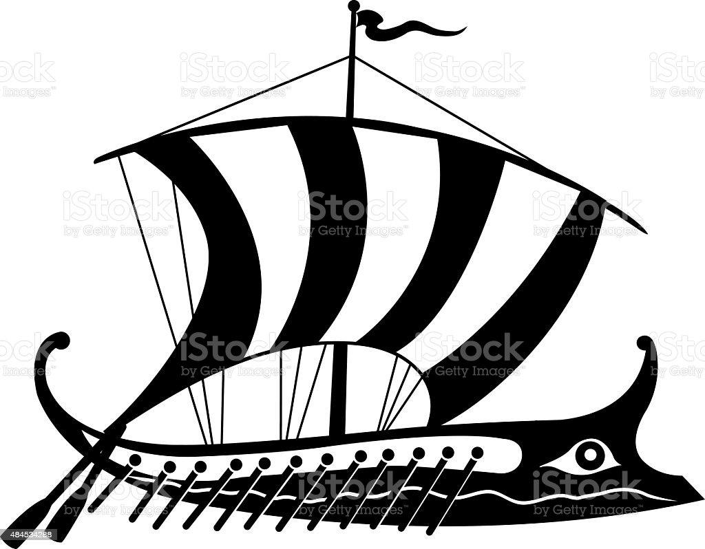 Black and white ancient Greek trireme vector art illustration