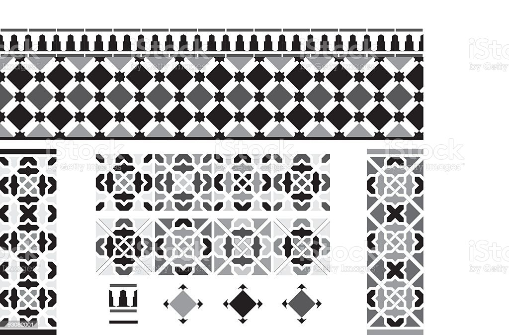 Black and white Andalusian Spanish, Moorish tiles vector art illustration