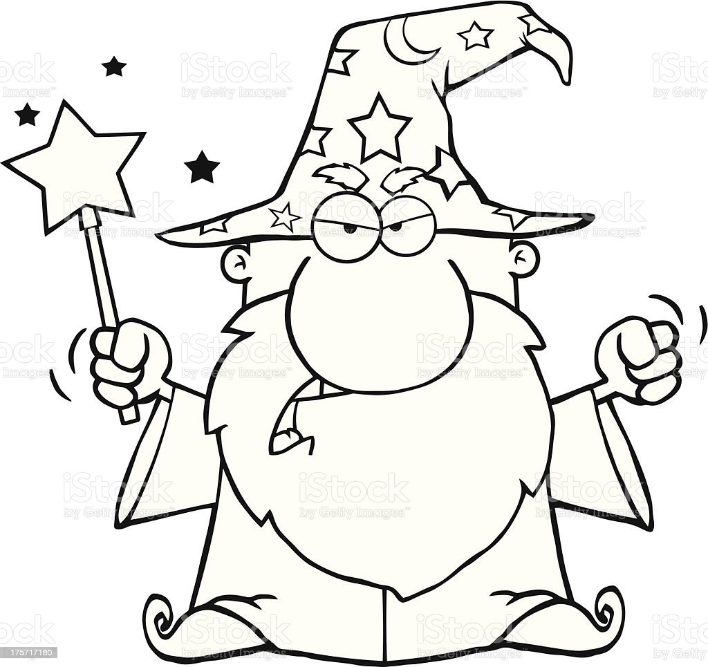 Black and White Angry Wizard Waving With Magic Wand royalty-free stock vector art