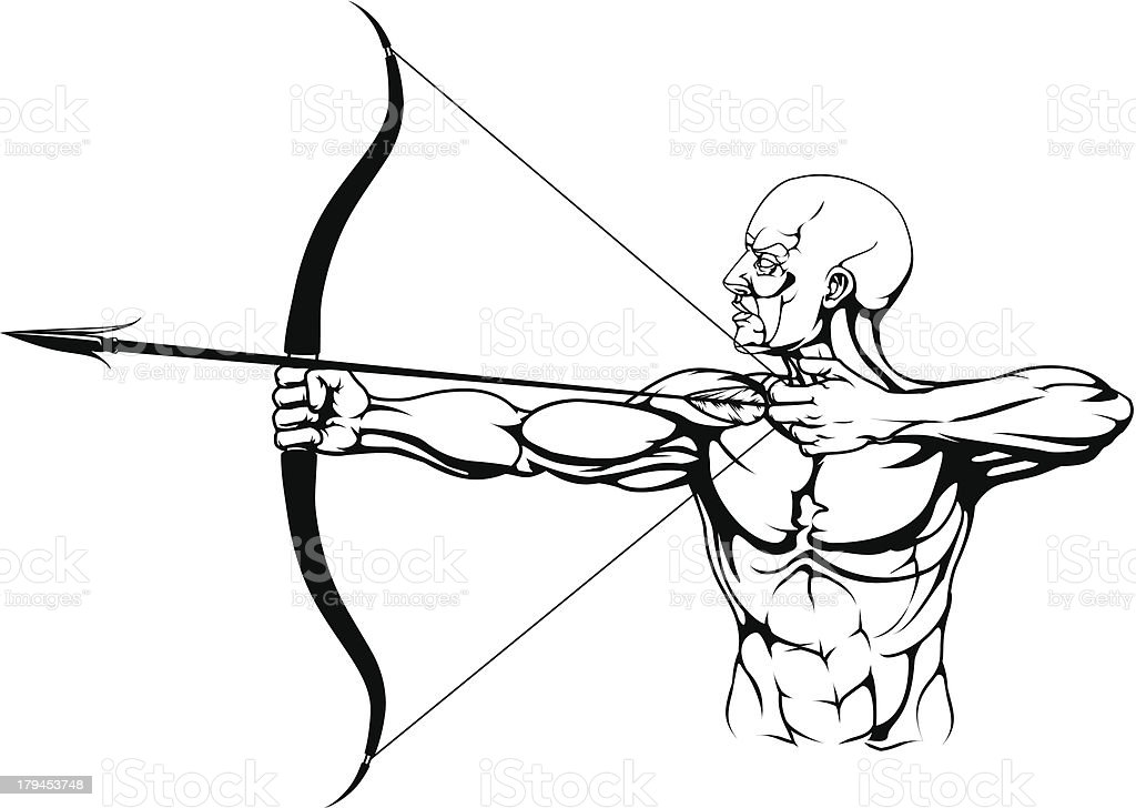 Black and white archer illustration royalty-free stock vector art