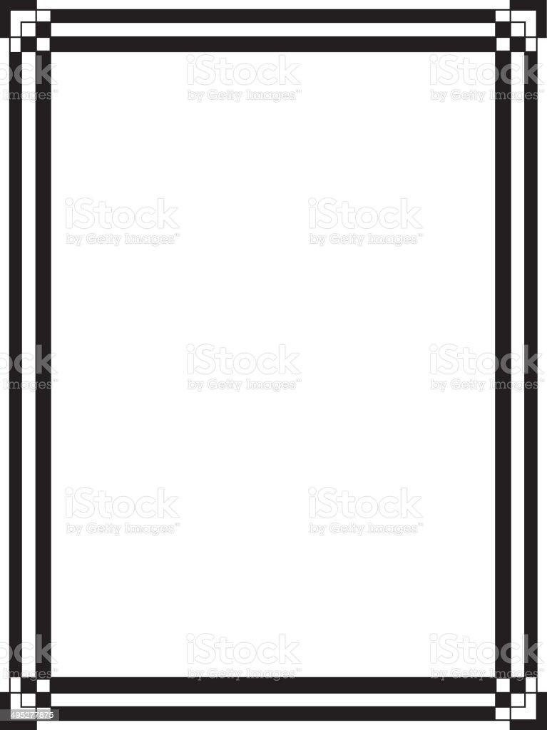 Black And White Art Deco Border vector art illustration