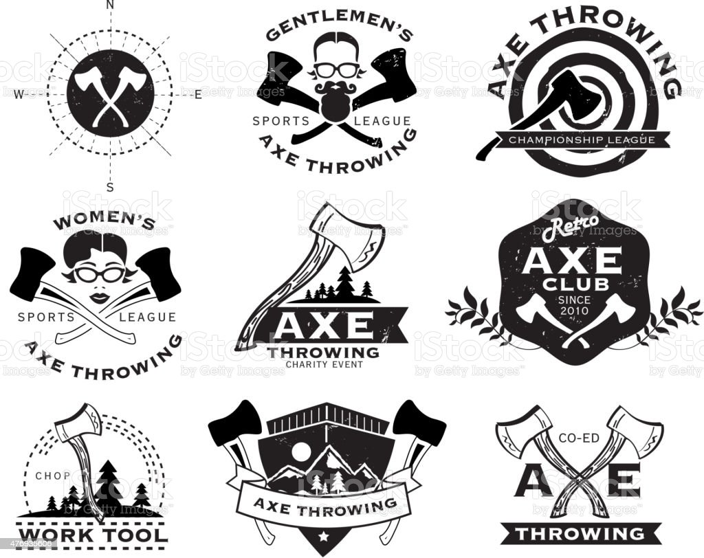 Black and white Axe Throwing set of labels or badges vector art illustration