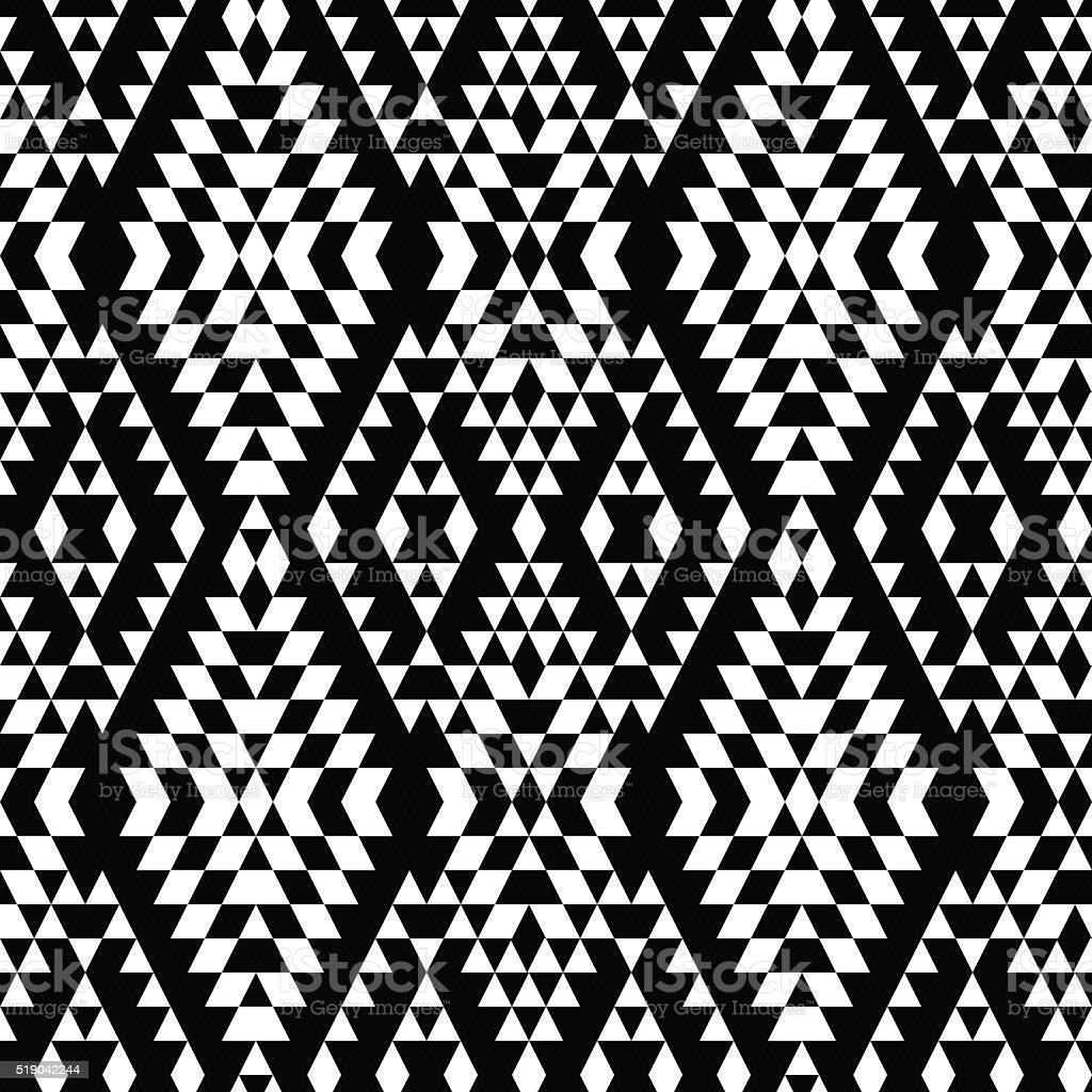 Black and white aztec striped ornaments geometric ethnic seamless pattern vector art illustration