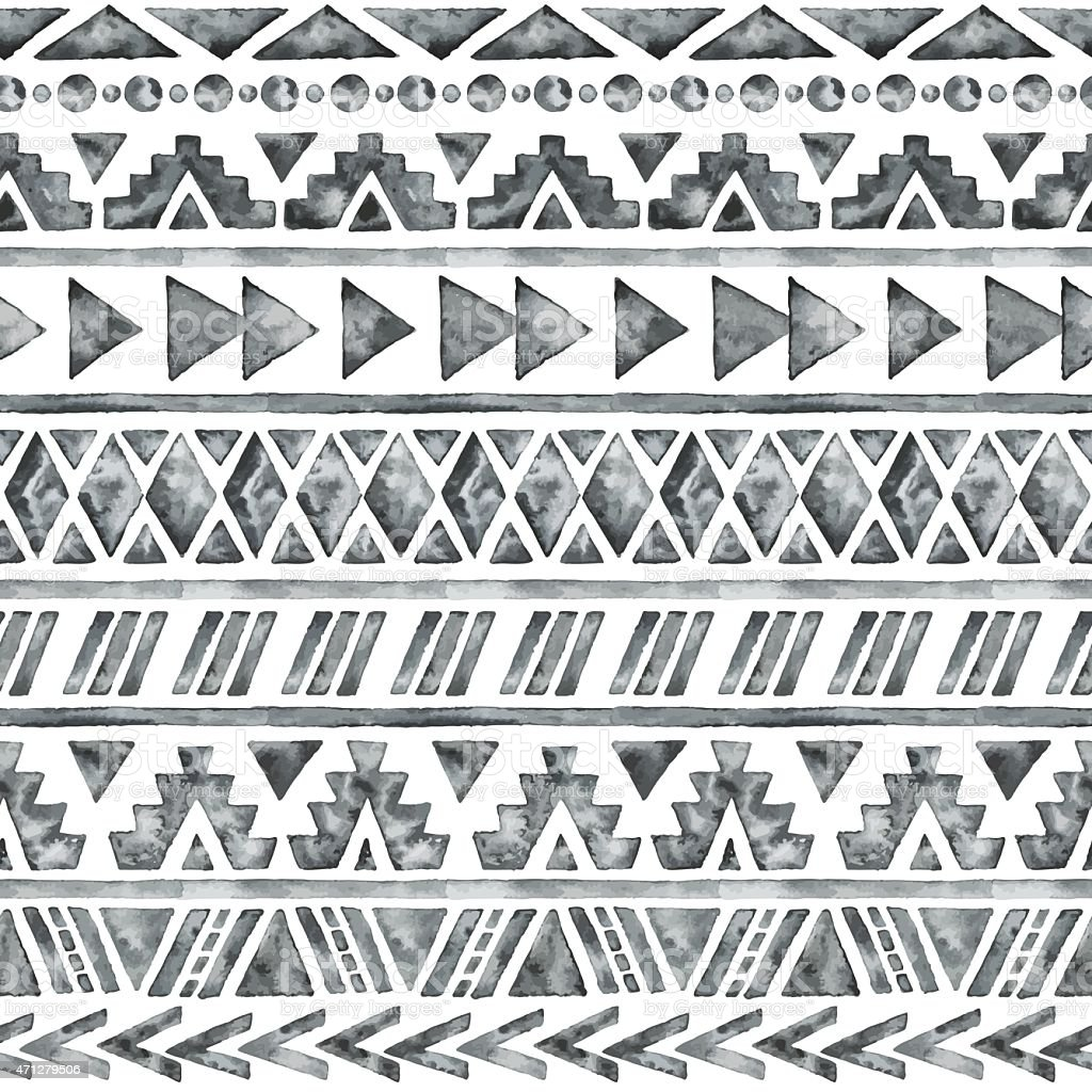 Black and white Aztec style watercolor pattern vector art illustration