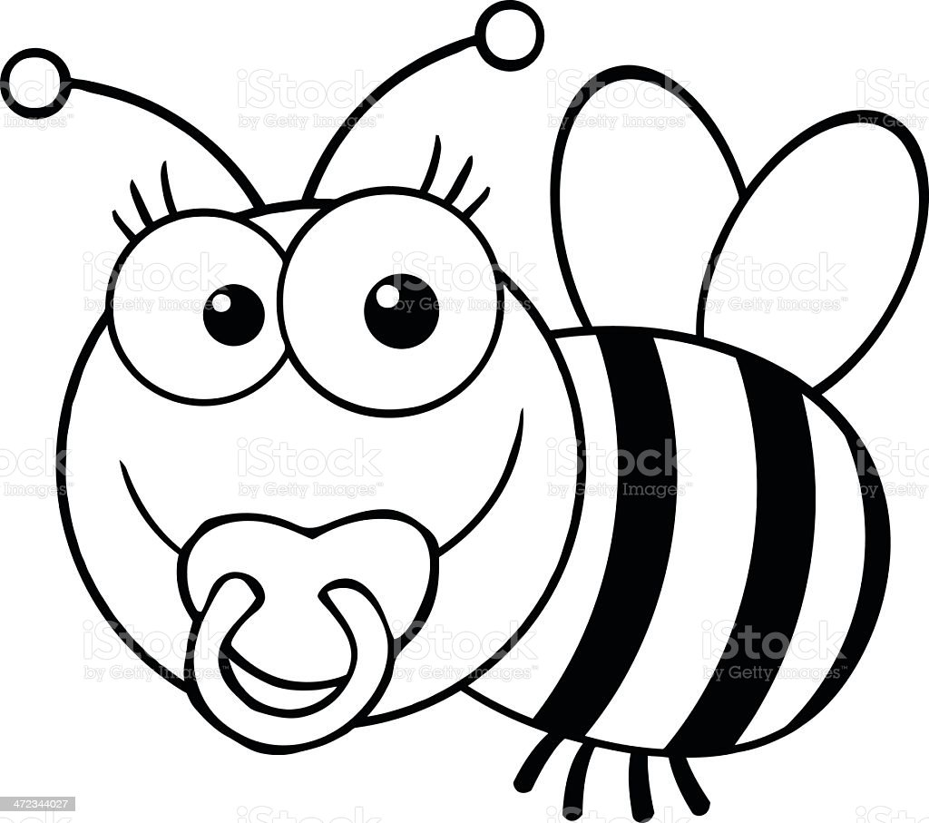 Black and White Baby Bee royalty-free stock vector art