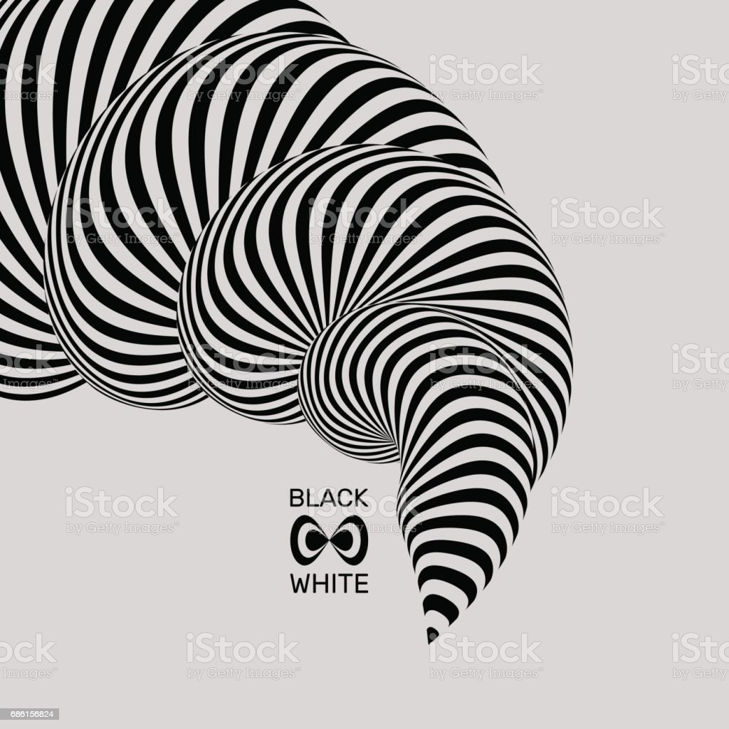 Black and white background. Pattern with optical illusion. 3D Vector illustration. vector art illustration