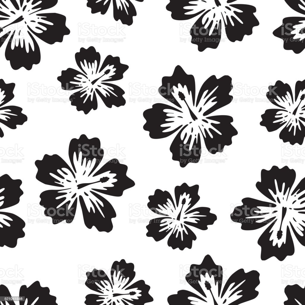 Black and white background with tropical flower vector art illustration