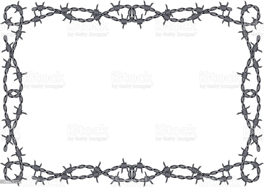 Black and white barbed wire border framed background vector vector art illustration