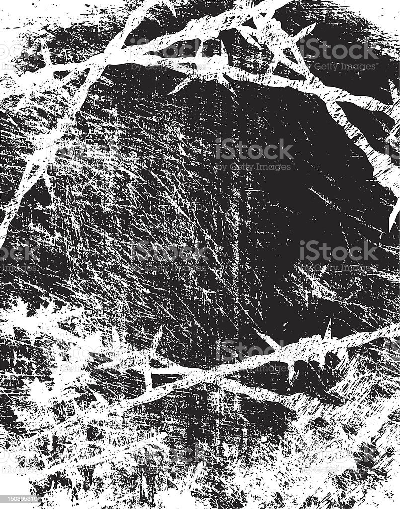 Black and white barbed wire sketch image vector art illustration