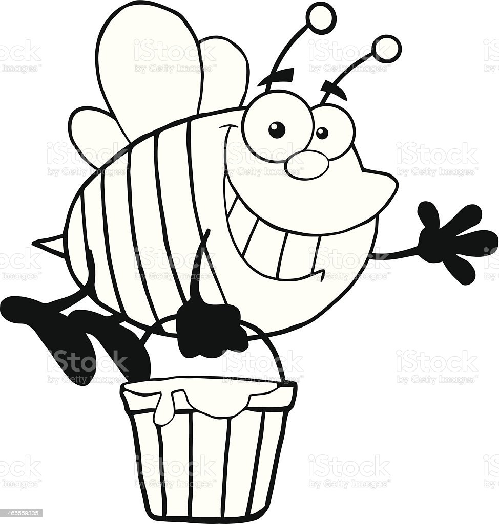 Black and White Bee Flying With A Honey Bucket royalty-free stock vector art