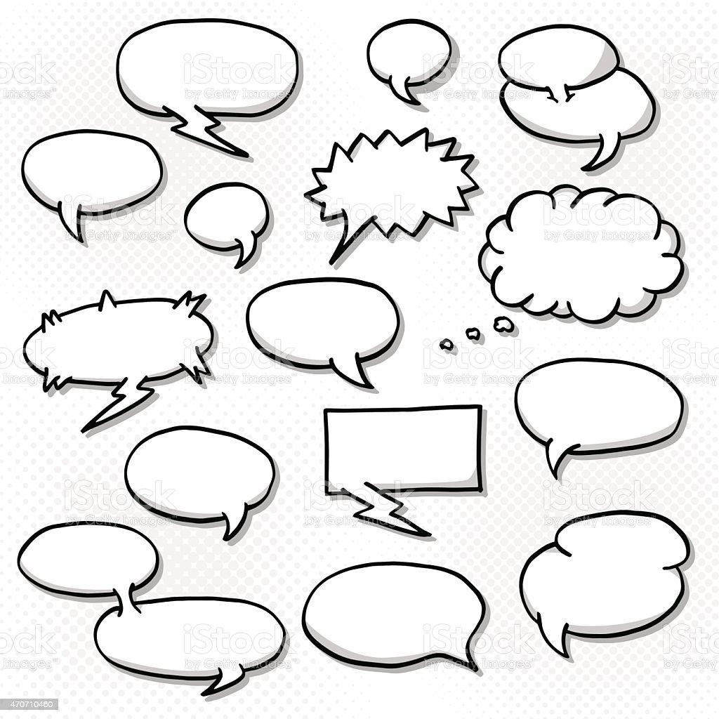 Black and white blank speech bubbles vector art illustration