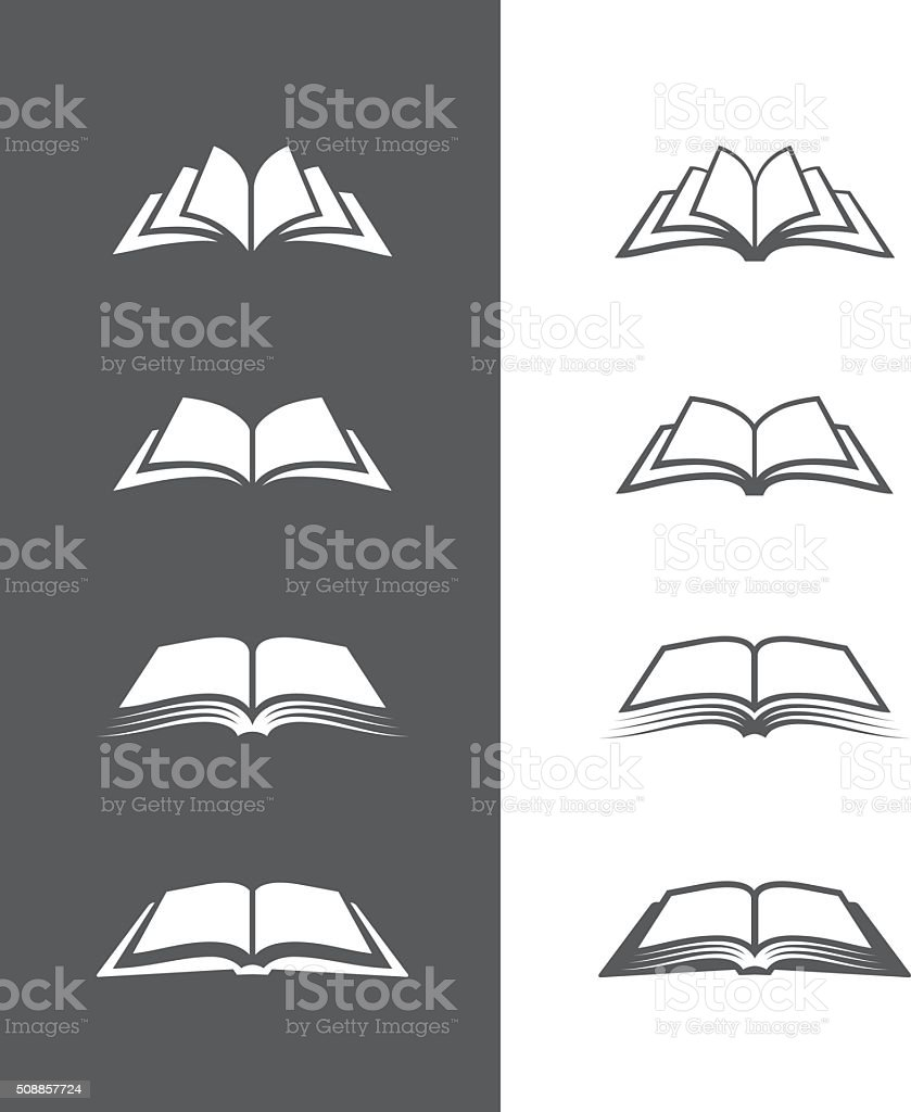 Black and white book icons set vector art illustration