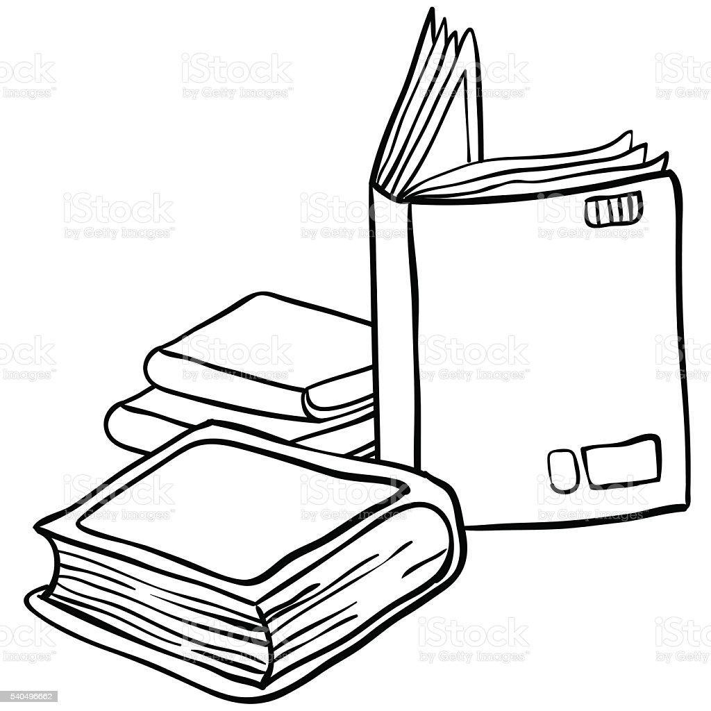 black and white books vector art illustration