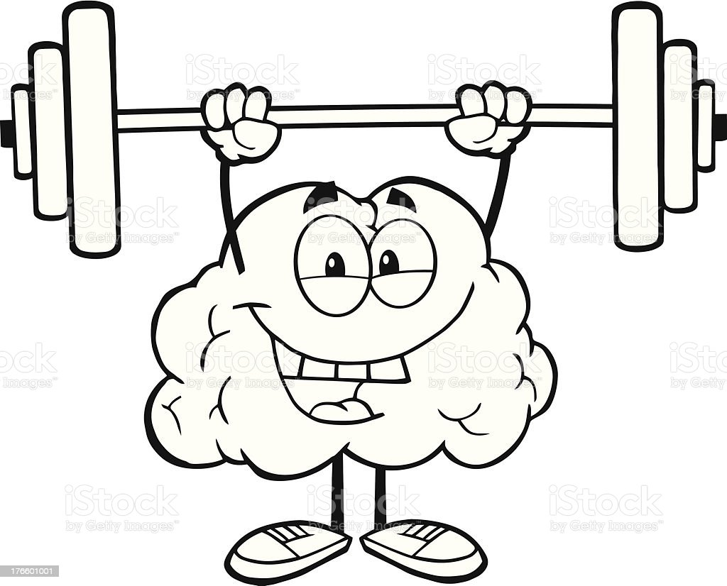 Black and White Brain Character Lifting Weights royalty-free stock vector art