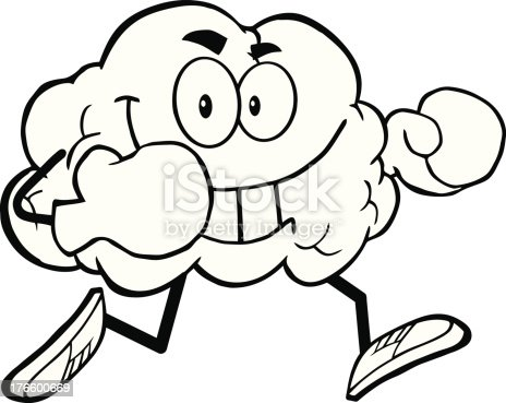 black and white brain running with boxing gloves stock vector art 176600669 istock