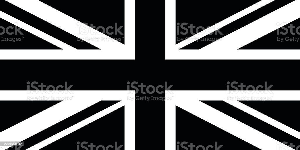 Black and White British Flag vector art illustration