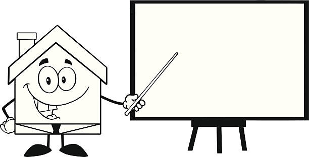 Black And White Business House Cartoon Character Holding A Pointer