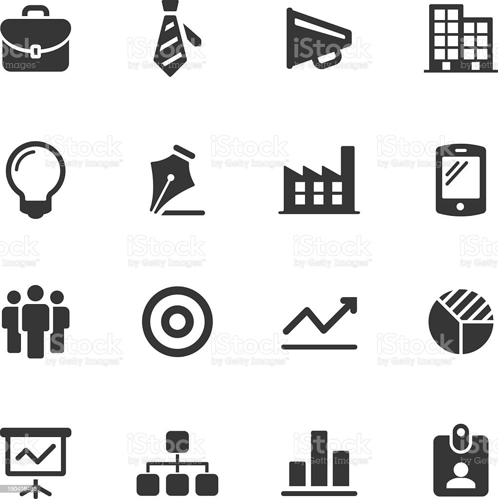 Black and white business icons vector art illustration