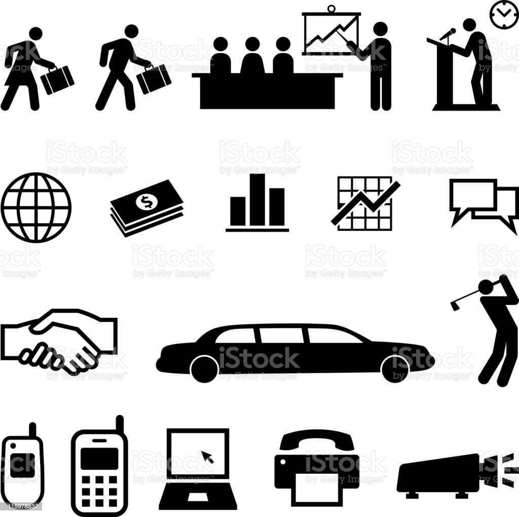 Black and White Business People and Activities on Business set vector art illustration