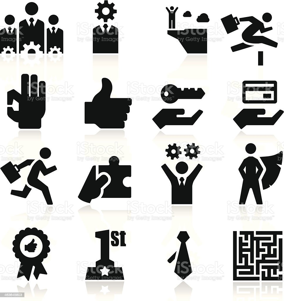 Black and white business success icons vector art illustration