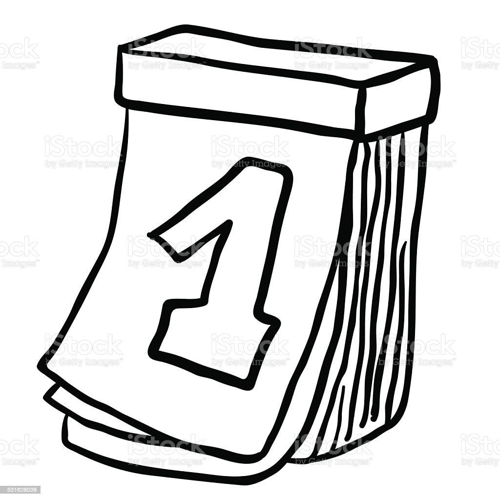 Dibujo animado en blanco y negro de calendario for Clipart calendario