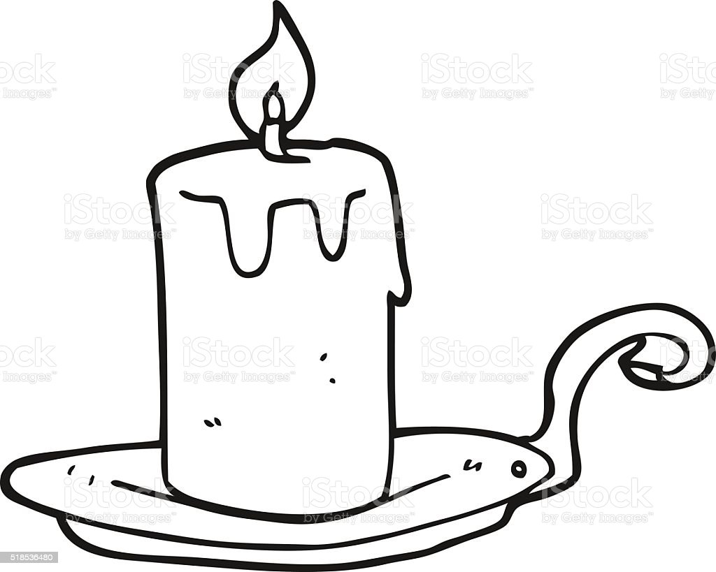 black and white cartoon candle lamp vector art illustration