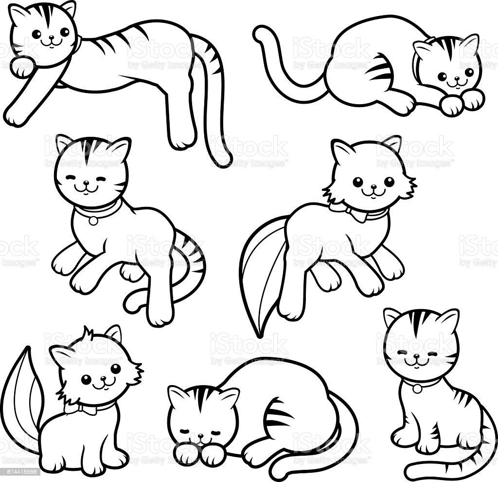 Black and white cartoon cats vector art illustration