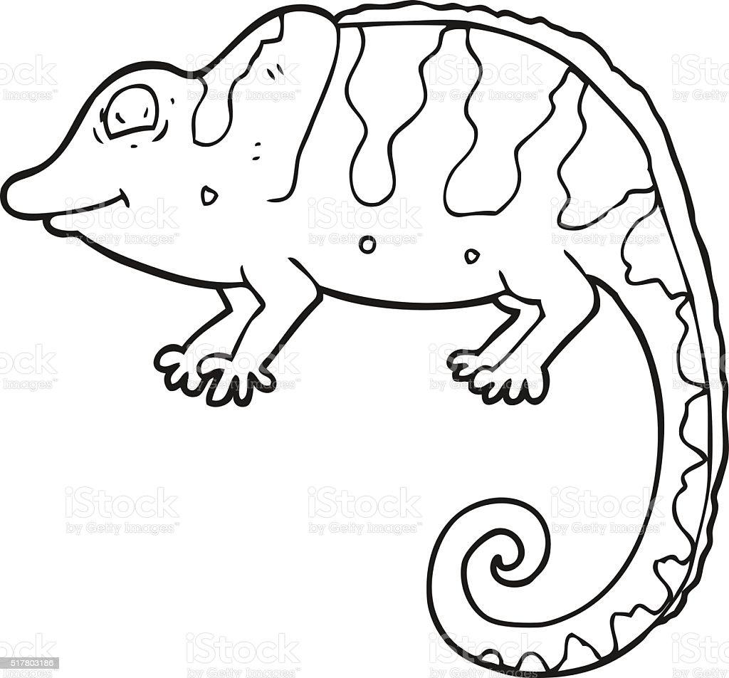 Black And White Cartoon Chameleon stock vector art ...