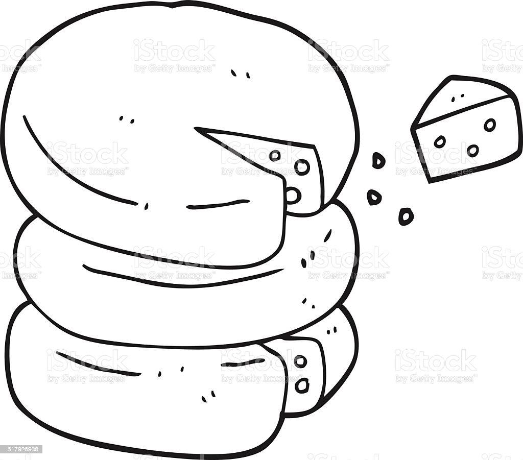 Käse clipart schwarz weiß  Schwarz Und Weiß Cartoon Laib Käse Vektor Illustration 517926938 ...