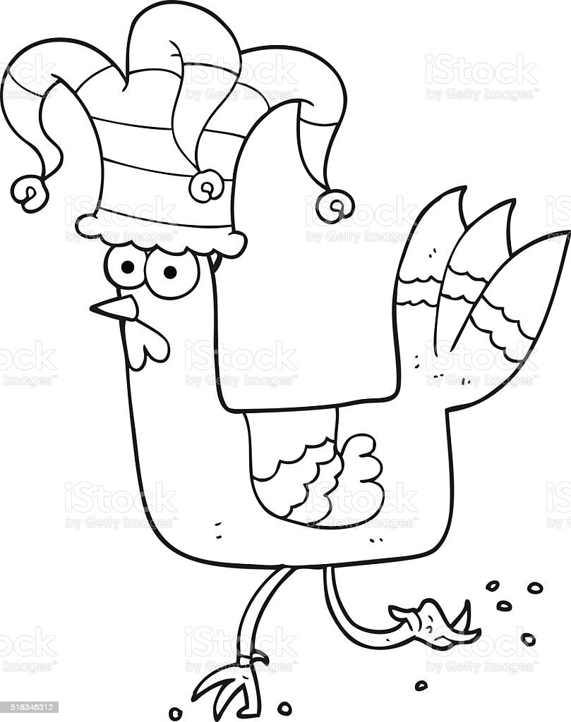 black and white cartoon chicken running in funny hat stock vector