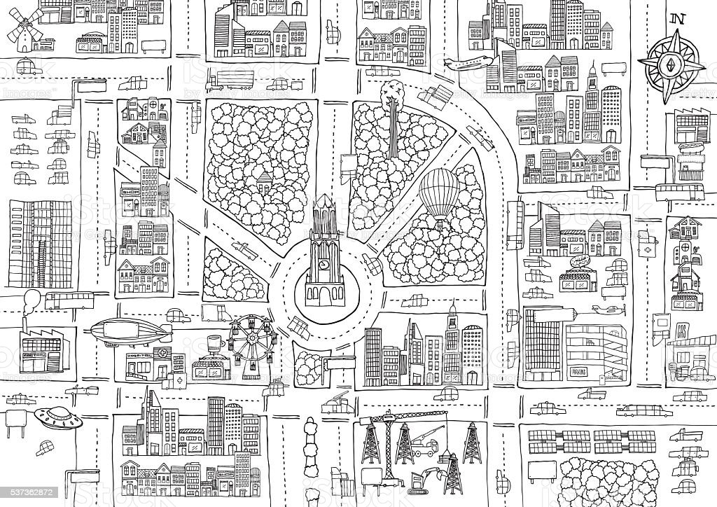 Black and white cartoon city for adult coloring vector art illustration