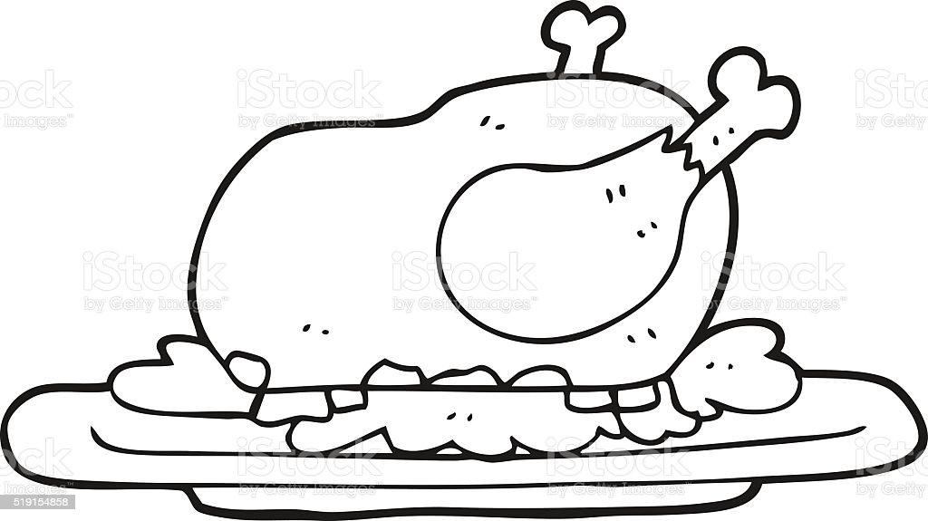 black and white cartoon cooked turkey vector art illustration