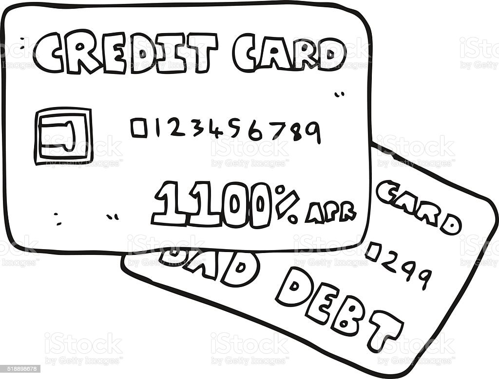 black and white cartoon credit cards vector art illustration