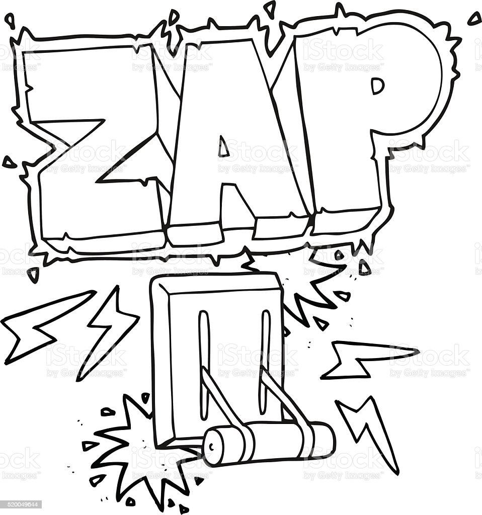 black and white cartoon electrical switch zapping stock