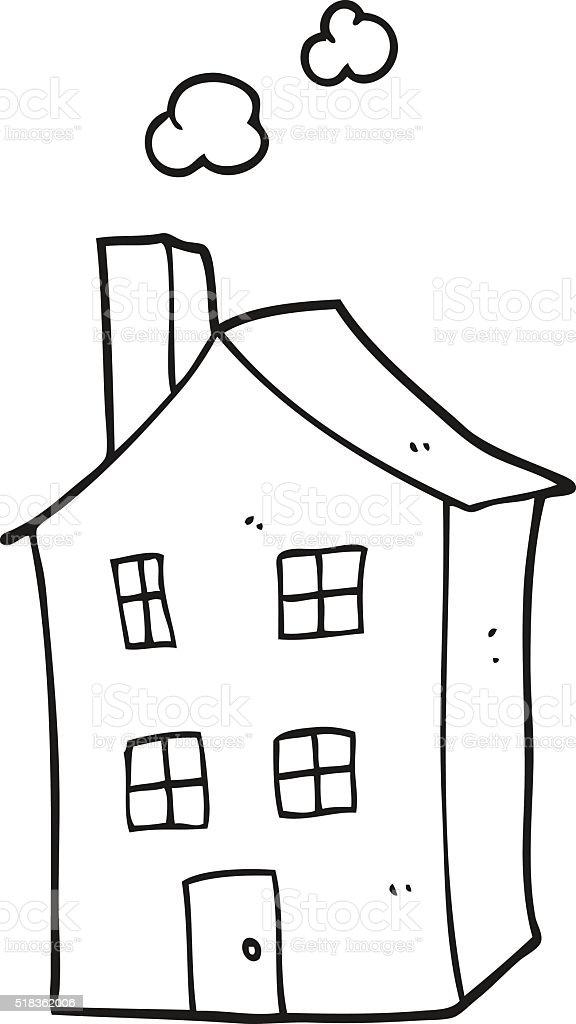 Haus clipart schwarz weiß  Schwarz Und Weiß Cartoon Haus Vektor Illustration 518362006 | iStock