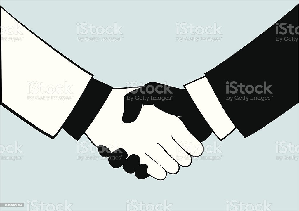 Black and white cartoon image of hands shaking royalty-free stock vector art