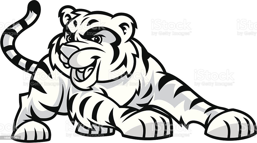 Black and white cartoon image of tiger cub vector art illustration