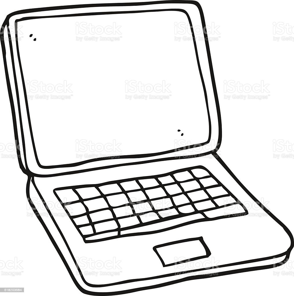 black and white cartoon laptop computer stock vector art