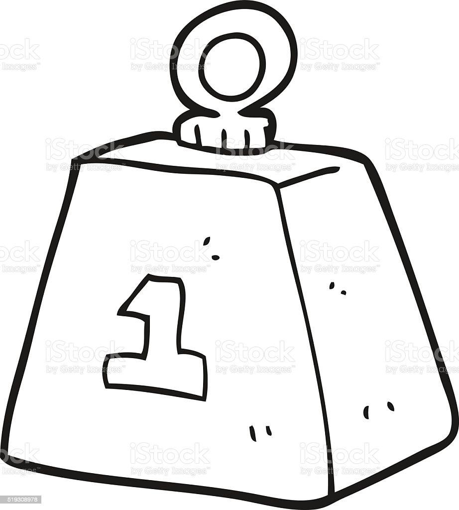 Single Weight Line Art : Schwarz und weiß cartoon einer tonne gewicht vektor